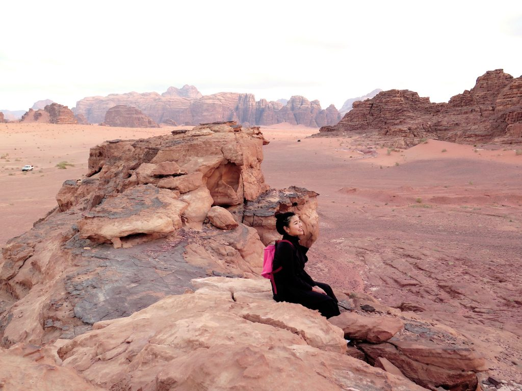 sitting and trekking like on the mars in Wadi Rum Jordan